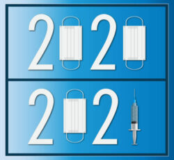 2020 - 2021 Icon Designed From The Mask And Syringe Flat Design